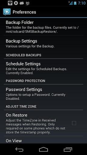 SMS Backup & Restore app settings