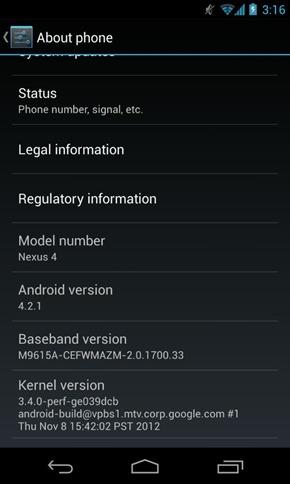 Android 4.2.1 JOP40D for Nexus 4