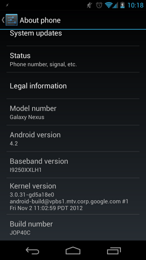Android Jelly Bean JOP40C on Galaxy Nexus