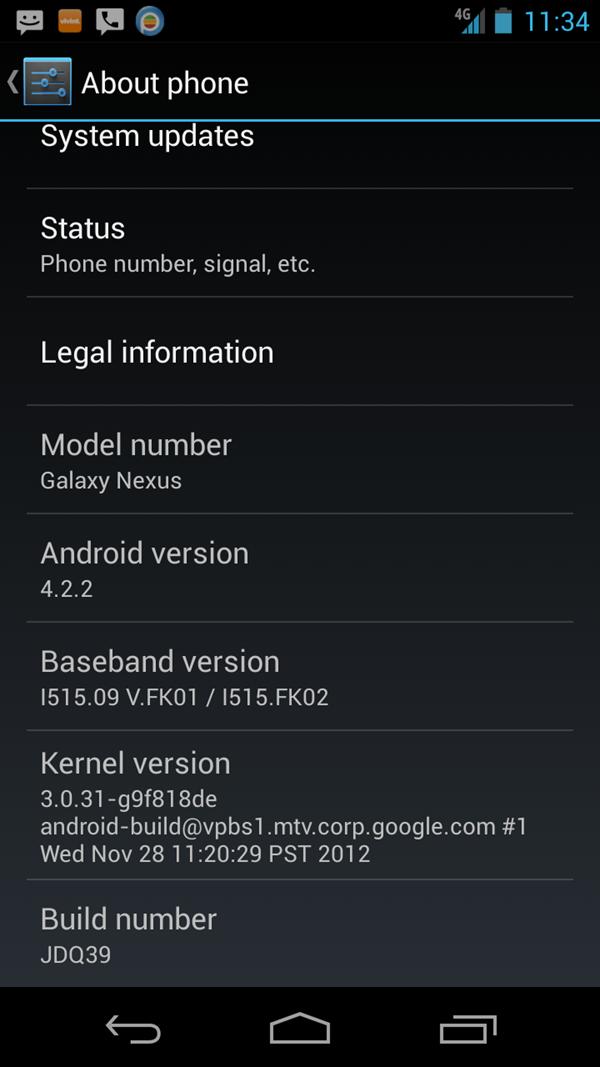 Verizon Galaxy Nexus I515 4.2.2 Jelly Bean Update
