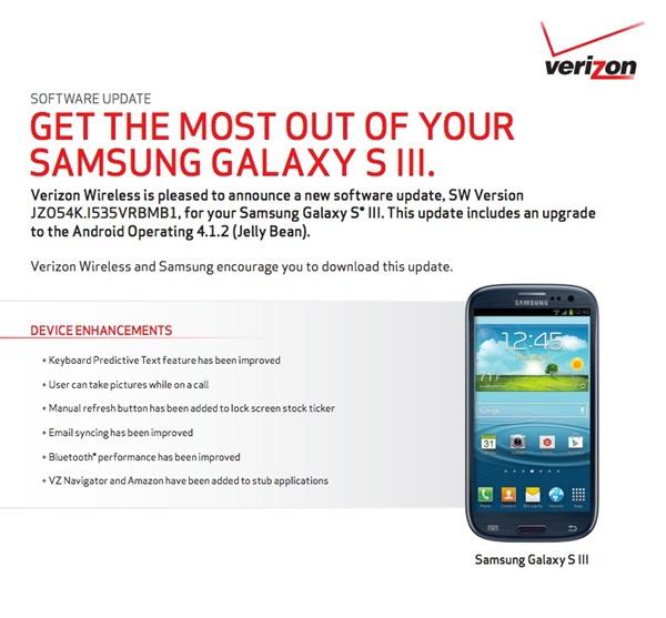 Verizon Galaxy S3 I535VRBMB1 Update