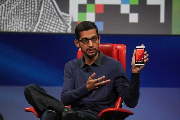 Sundar Pichai holding HTC One Google Edition