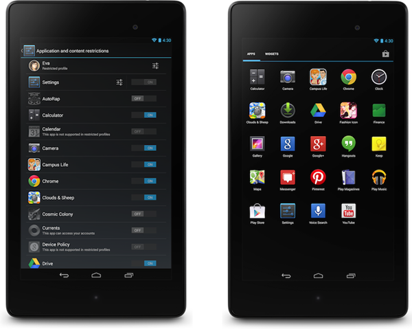 Android 4.3 restricted profiles