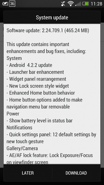 HTC One 2.24.709.1 Update